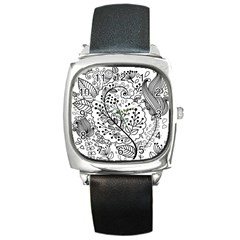 Black Abstract Floral Background Square Metal Watch