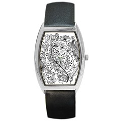 Black Abstract Floral Background Barrel Style Metal Watch