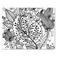 Black Abstract Floral Background Rectangular Jigsaw Puzzl