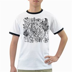 Black Abstract Floral Background Ringer T-Shirts