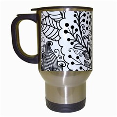 Black Abstract Floral Background Travel Mugs (white)