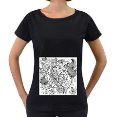 Black Abstract Floral Background Women s Loose Fit T Shirt (black)