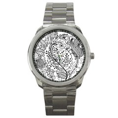 Black Abstract Floral Background Sport Metal Watch