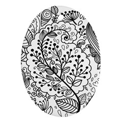 Black Abstract Floral Background Oval Ornament (Two Sides)