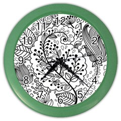 Black Abstract Floral Background Color Wall Clocks