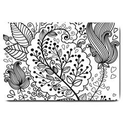 Black Abstract Floral Background Large Doormat