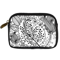 Black Abstract Floral Background Digital Camera Cases