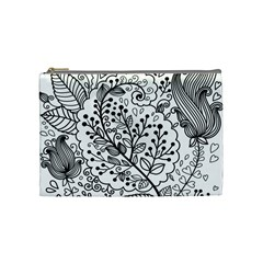 Black Abstract Floral Background Cosmetic Bag (medium)
