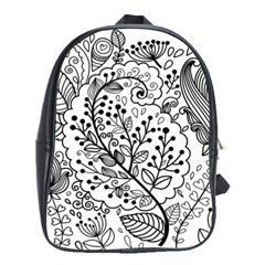 Black Abstract Floral Background School Bags(Large)