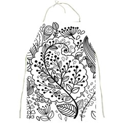 Black Abstract Floral Background Full Print Aprons