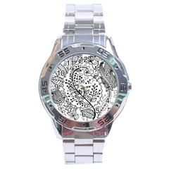 Black Abstract Floral Background Stainless Steel Analogue Watch