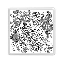 Black Abstract Floral Background Memory Card Reader (square)