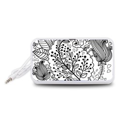 Black Abstract Floral Background Portable Speaker (White)