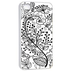 Black Abstract Floral Background Apple iPhone 4/4s Seamless Case (White)