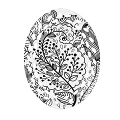 Black Abstract Floral Background Oval Filigree Ornament (two Sides)
