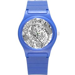 Black Abstract Floral Background Round Plastic Sport Watch (S)