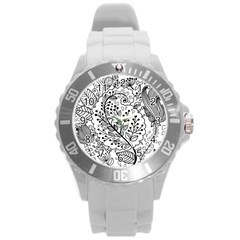Black Abstract Floral Background Round Plastic Sport Watch (L)