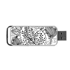 Black Abstract Floral Background Portable USB Flash (Two Sides)