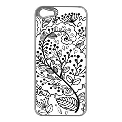 Black Abstract Floral Background Apple iPhone 5 Case (Silver)