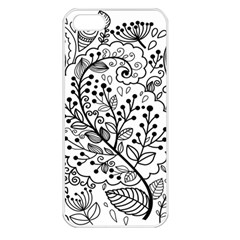Black Abstract Floral Background Apple iPhone 5 Seamless Case (White)