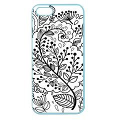 Black Abstract Floral Background Apple Seamless Iphone 5 Case (color)