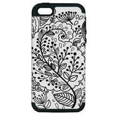 Black Abstract Floral Background Apple iPhone 5 Hardshell Case (PC+Silicone)