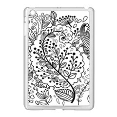 Black Abstract Floral Background Apple iPad Mini Case (White)