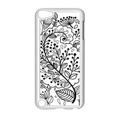 Black Abstract Floral Background Apple iPod Touch 5 Case (White)
