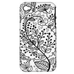 Black Abstract Floral Background Apple iPhone 4/4S Hardshell Case (PC+Silicone)