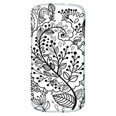 Black Abstract Floral Background Samsung Galaxy S3 S III Classic Hardshell Back Case