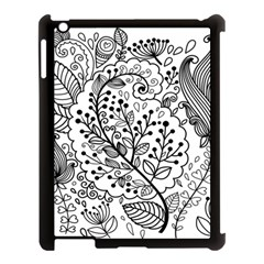 Black Abstract Floral Background Apple iPad 3/4 Case (Black)
