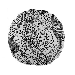 Black Abstract Floral Background Standard 15  Premium Round Cushions
