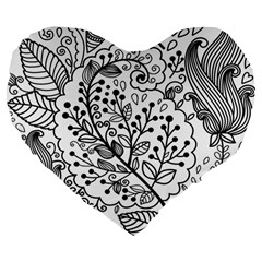 Black Abstract Floral Background Large 19  Premium Heart Shape Cushions