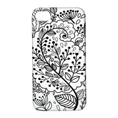 Black Abstract Floral Background Apple iPhone 4/4S Hardshell Case with Stand