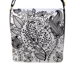 Black Abstract Floral Background Flap Messenger Bag (L)