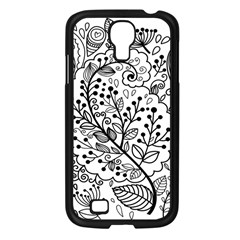 Black Abstract Floral Background Samsung Galaxy S4 I9500/ I9505 Case (black)