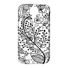 Black Abstract Floral Background Samsung Galaxy S4 Classic Hardshell Case (pc+silicone)