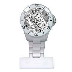 Black Abstract Floral Background Plastic Nurses Watch