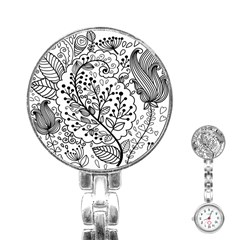 Black Abstract Floral Background Stainless Steel Nurses Watch