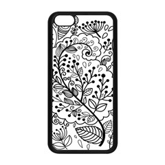 Black Abstract Floral Background Apple Iphone 5c Seamless Case (black)