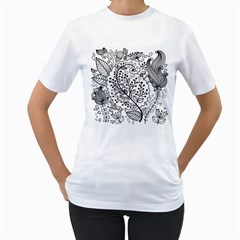 Black Abstract Floral Background Women s T Shirt (white)