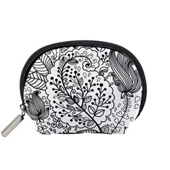 Black Abstract Floral Background Accessory Pouches (Small)