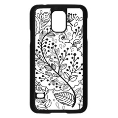 Black Abstract Floral Background Samsung Galaxy S5 Case (Black)
