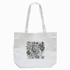 Black Abstract Floral Background Tote Bag (White)