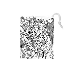 Black Abstract Floral Background Drawstring Pouches (Small)