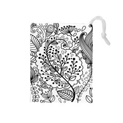 Black Abstract Floral Background Drawstring Pouches (Medium)