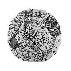 Black Abstract Floral Background Standard 15  Premium Flano Round Cushions