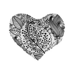 Black Abstract Floral Background Standard 16  Premium Flano Heart Shape Cushions