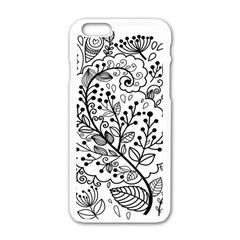Black Abstract Floral Background Apple iPhone 6/6S White Enamel Case