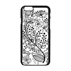 Black Abstract Floral Background Apple iPhone 6/6S Black Enamel Case